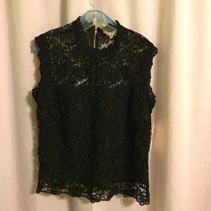 Nanette Lepore black lace sleeveless blouse